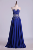 Prom Dresses A Line Sweetheart Floor Length Dark Royal Blue Chiffon
