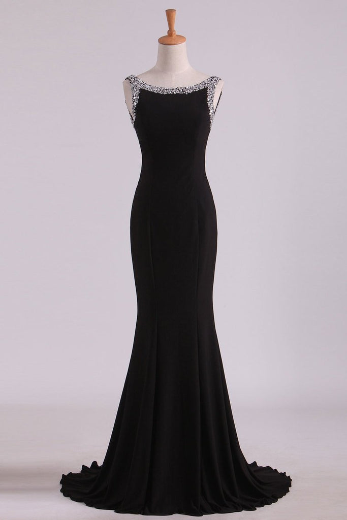 Bateau Prom Dresses Mermaid Open Back Mermaid With Beading Black