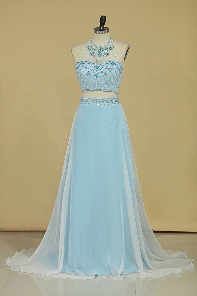 Two-Piece Halter A Line Prom Dresses With Beading And Rhinestones Bicolor Chiffon &