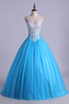 Bicolor Quinceanera Dresses Sweetheart Ball Gown Floor-Length With Beads Tulle Lace Up