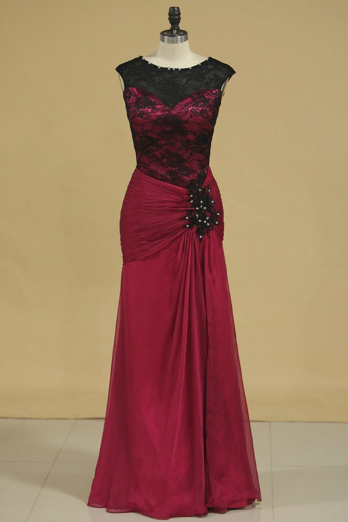 A Line Floor Length Evening Dresses Scoop Chiffon & Lace