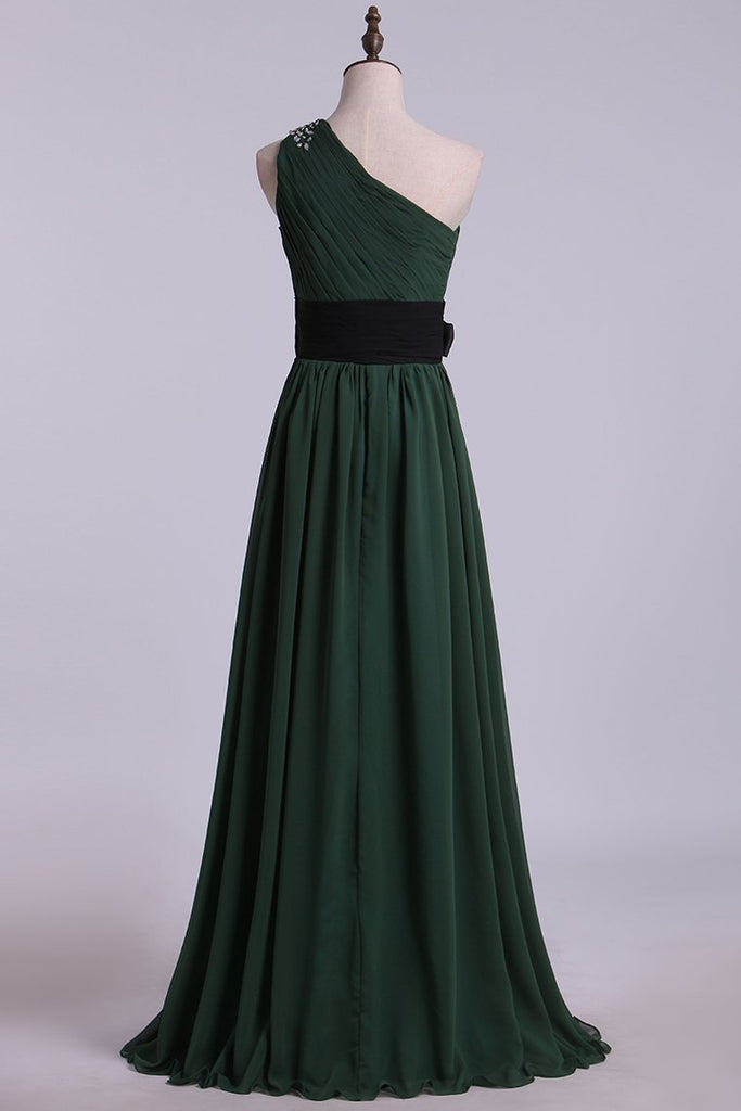 One Shoulder A Line Prom Dress With Ruffles And Beads Floor Length Chiffon