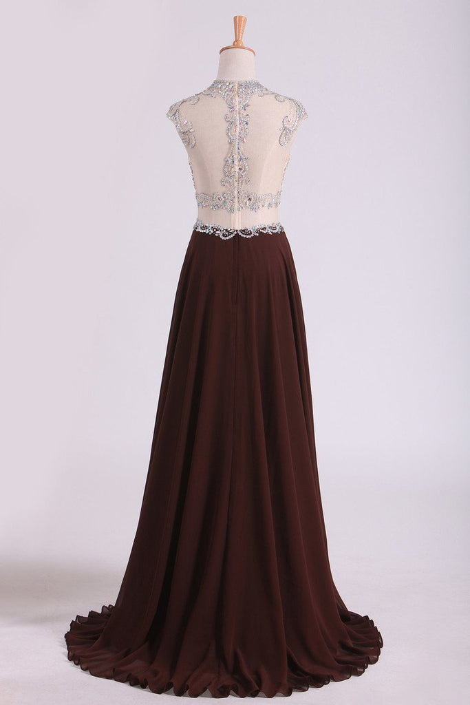 Scoop Prom Dresses A Line Beaded Bodice Chiffon & Tulle With Slit Color