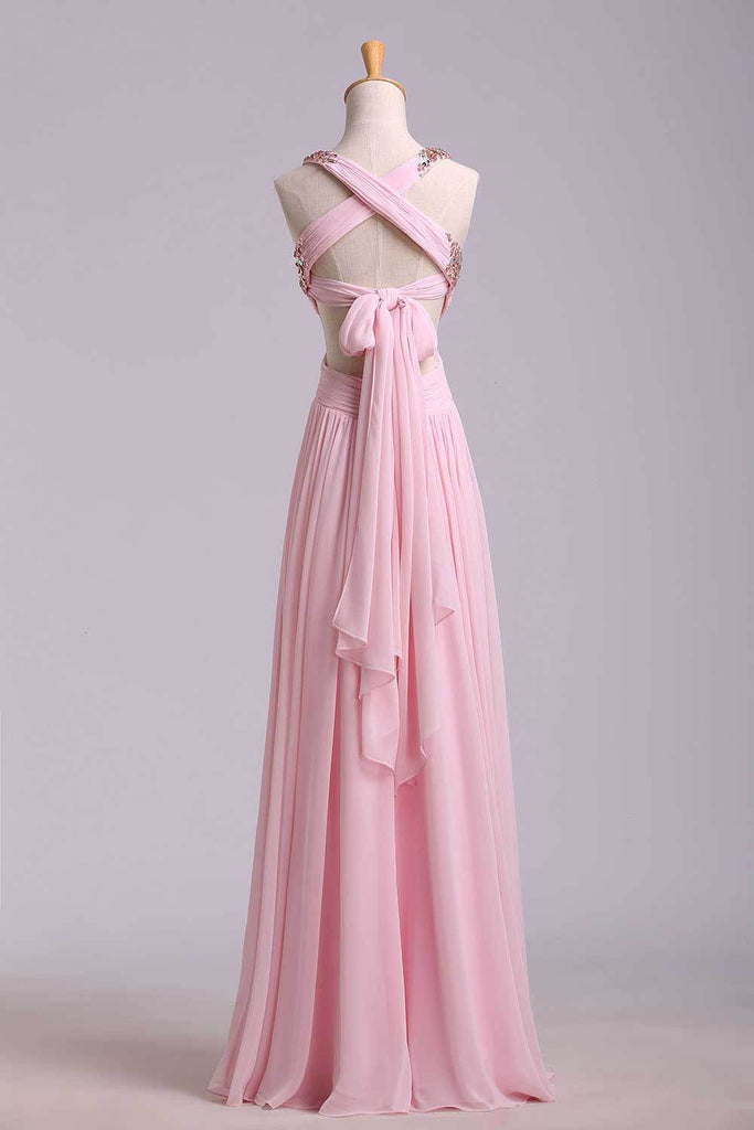 Prom Dresses A-Line Cross Back Floor-Length Chiffon Pink Ready To Ship