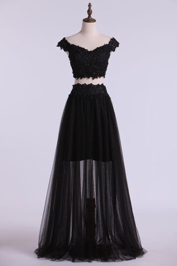 Two Pieces Prom Dresses Tulle A Line With