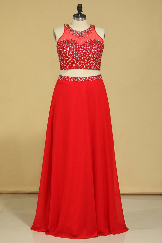 Red Scoop Two Pieces A Line Prom Dresses Beaded Bodice Open Back Chiffon &