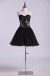 A Line Sweetheart Mini Homecoming  Dresses With Beads & Applique