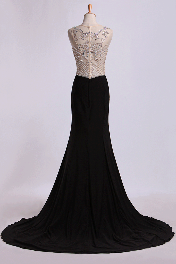 Bateau Prom Dresses Sheath/Column Spandex With Beads Sweep Train