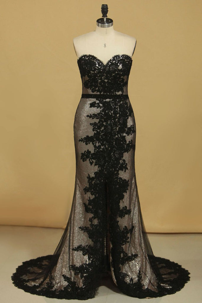 Sequin & Tulle Sweetheart Sheath Prom Dresses With Applique And