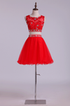 Homecoming Dresses Scoop Tulle Mini With Beading & Applique Two Pieces