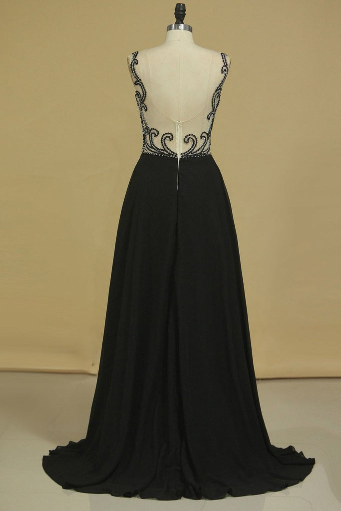 Bateau With Beads And Ruffles Prom Dresses A Line Chiffon Sweep Train