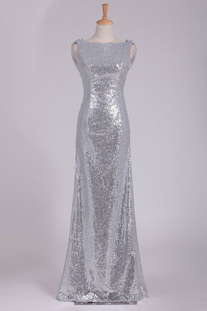 Open Back Bridesmaid Dresses Scoop Sequins Floor Length