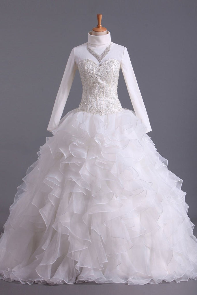 Musilim Wedding Dresses A Line Sweetheart Organza With Beads & Applique