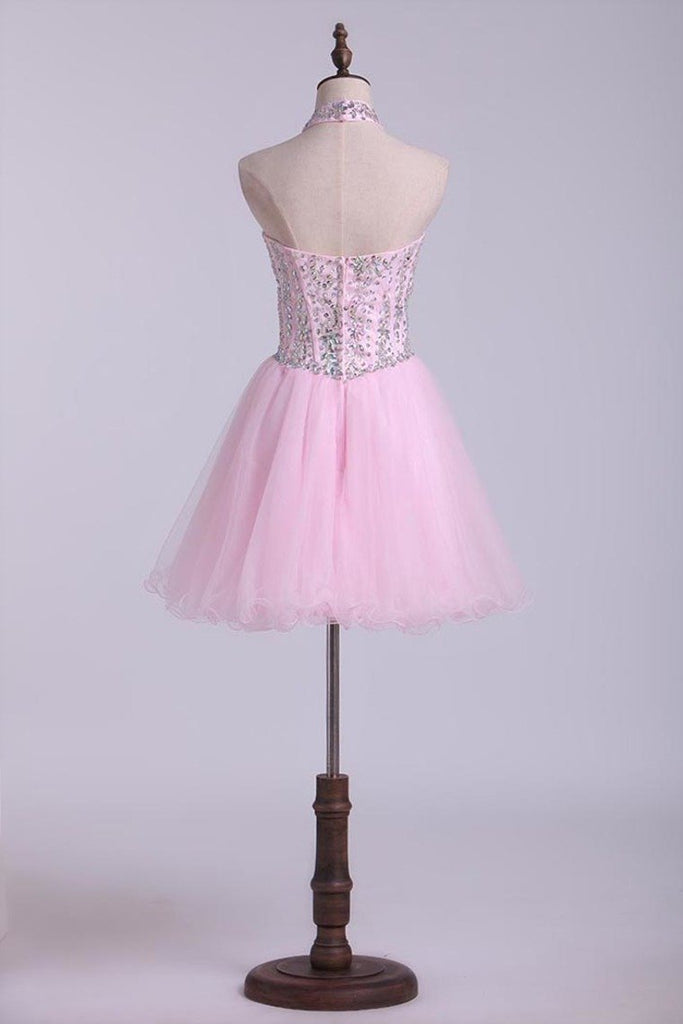 Halter A-Line Short/Mini Homecoming Dresses With Beads Tulle