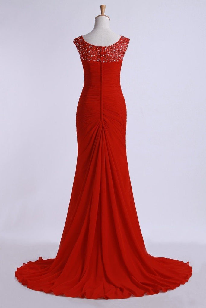 Prom Dresses Off The Shoulder Pleated Bodice Sheath/Column Beaded Court Train