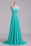 Prom Dress One Shoulder Ruffled Bodice With Rhinestone Beaded Strap