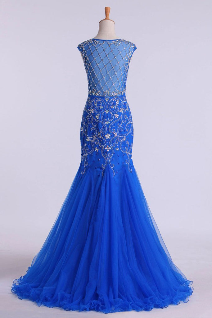 Scoop Beaded And Fitted Bodice Trumpet Prom Dress