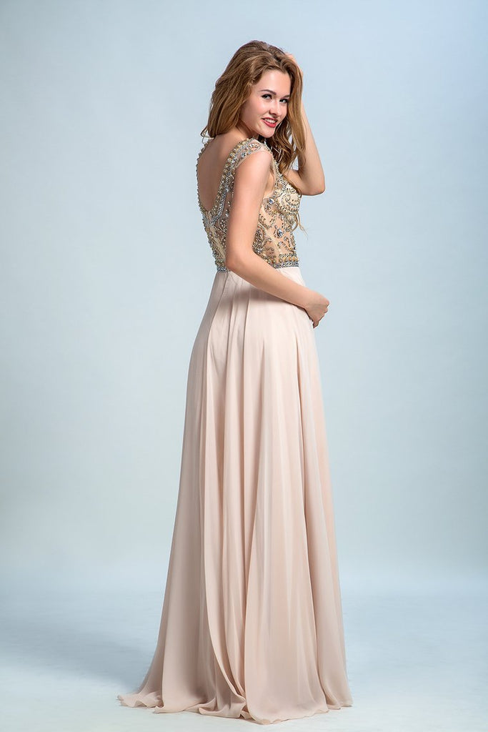 Prom Dresses A-Line Scoop Beaded Bodice Floor-Length Chiffon Zipper Back