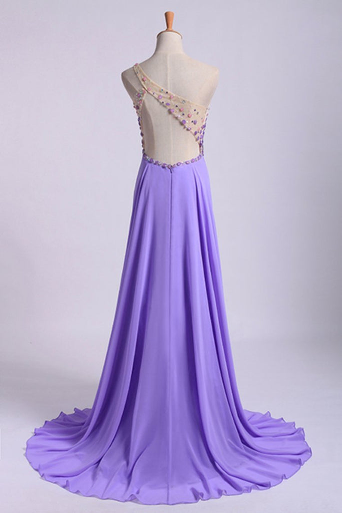 Romantic Prom Dresses A Line One Shoulder With Beadings Tulle And Chiffon Sweep