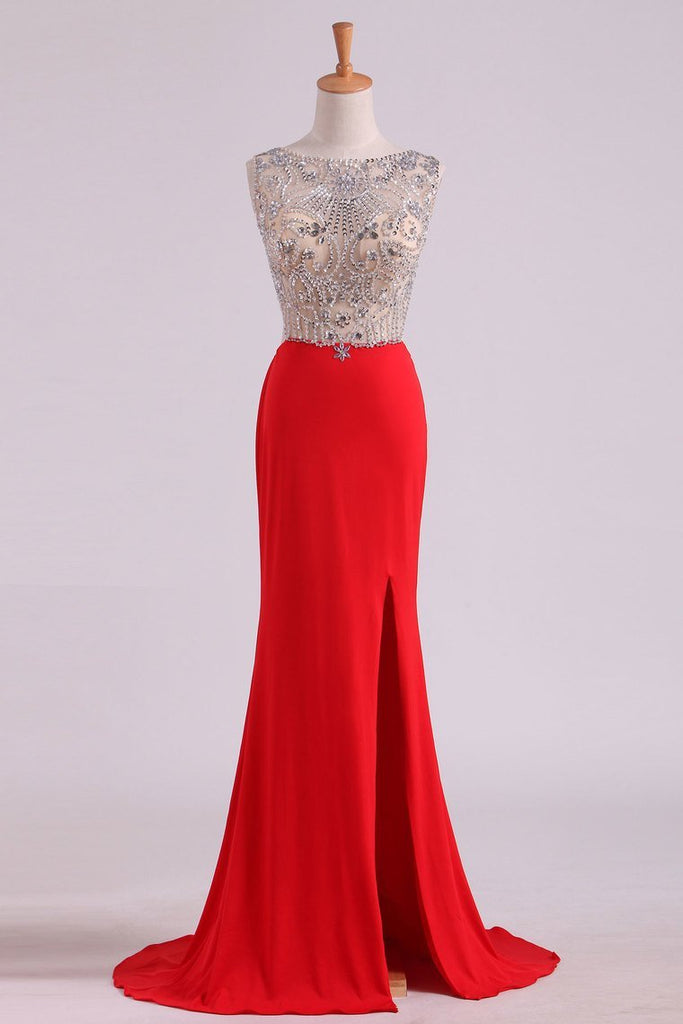 Scoop Beaded Bodice Prom Dresses With Beading Backless