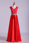 V-Neck Lace Bodice Prom Dresses Satin Beaded