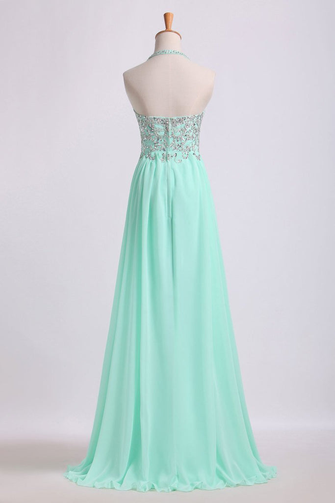 Prom Dresses Empire Waist Halter Floor Length Chiffon