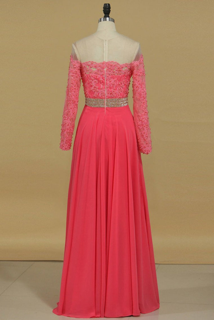 Scoop Chiffon With Applique And Beads Sweep Train A Line Prom