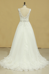 Bridal Dresses A Line V-Back Tulle Chapel Train V-Back Applique & Sash
