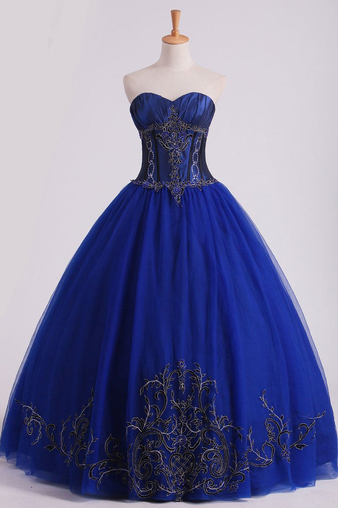Dark Royal Blue Ball Gown Sweetheart Floor Length Quinceanera Dresses With Beading