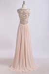Prom Dress Scoop A Line Beaded Tulle Bodice With Chiffon Skirt