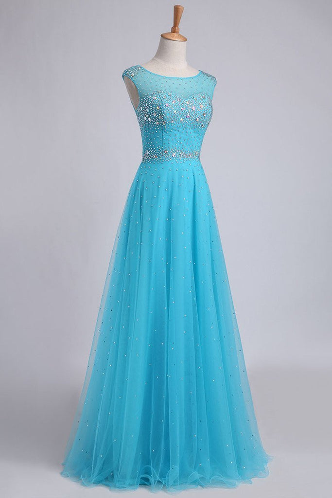 Scoop Backless A Line Floor Length Prom Dress