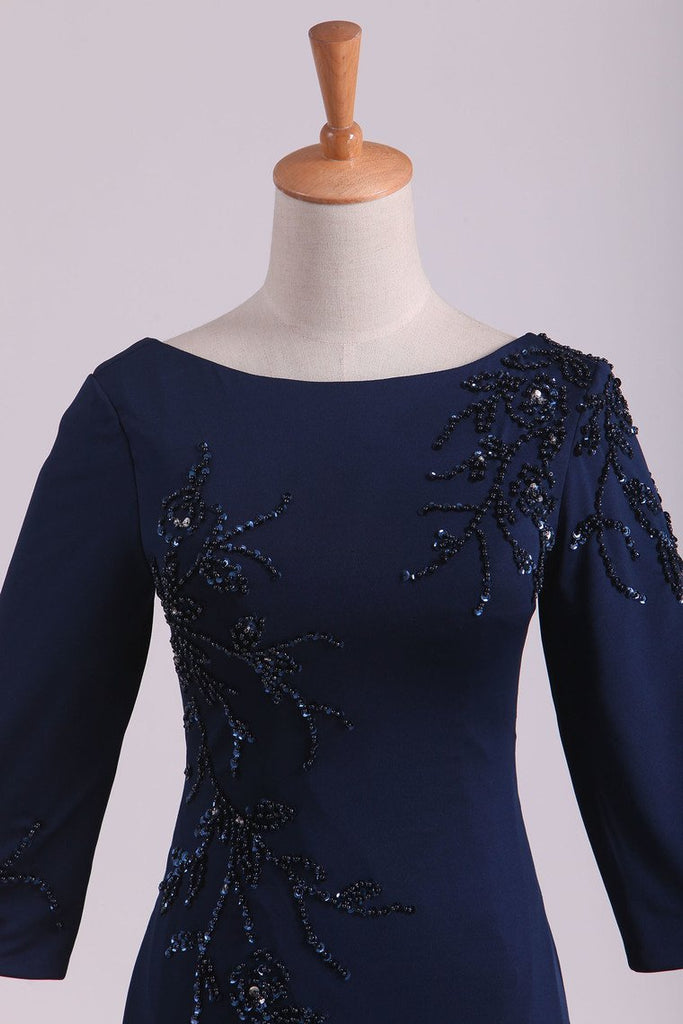 3/4 Length Sleeve Mother Of The Bride Dresses Bateau Spandex With Beads