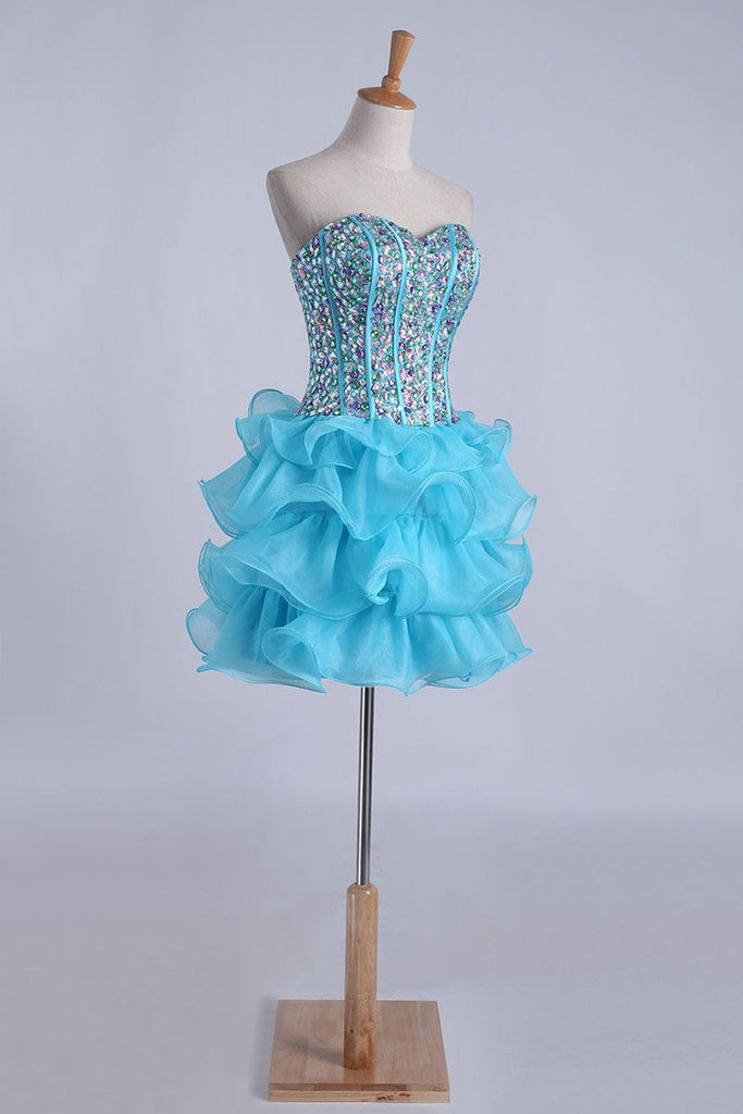 Homecoming Dresses Ball Gown Sweetheart Short/Mini With Rhinestones