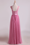 Bridesmaid Dresses Scoop A Line Floor Length With Applique Tulle