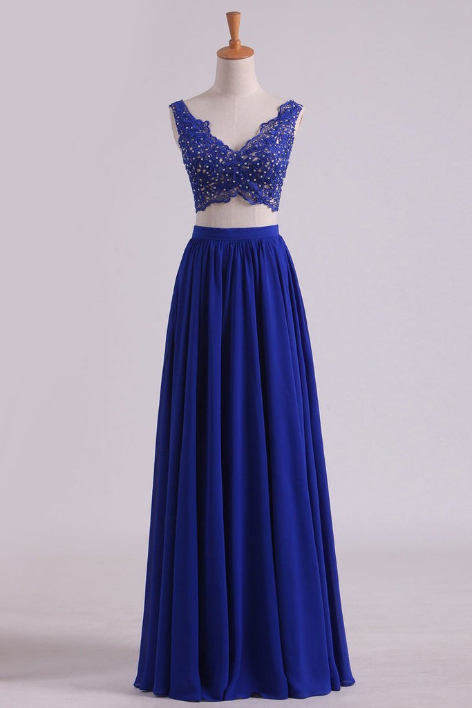 Two-Piece Straps Chiffon With Applique And Beads Prom