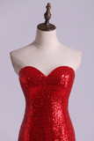 Hot Red Mermaid/Trumpet Evening Dresses Sweetheart Sequined Bodice
