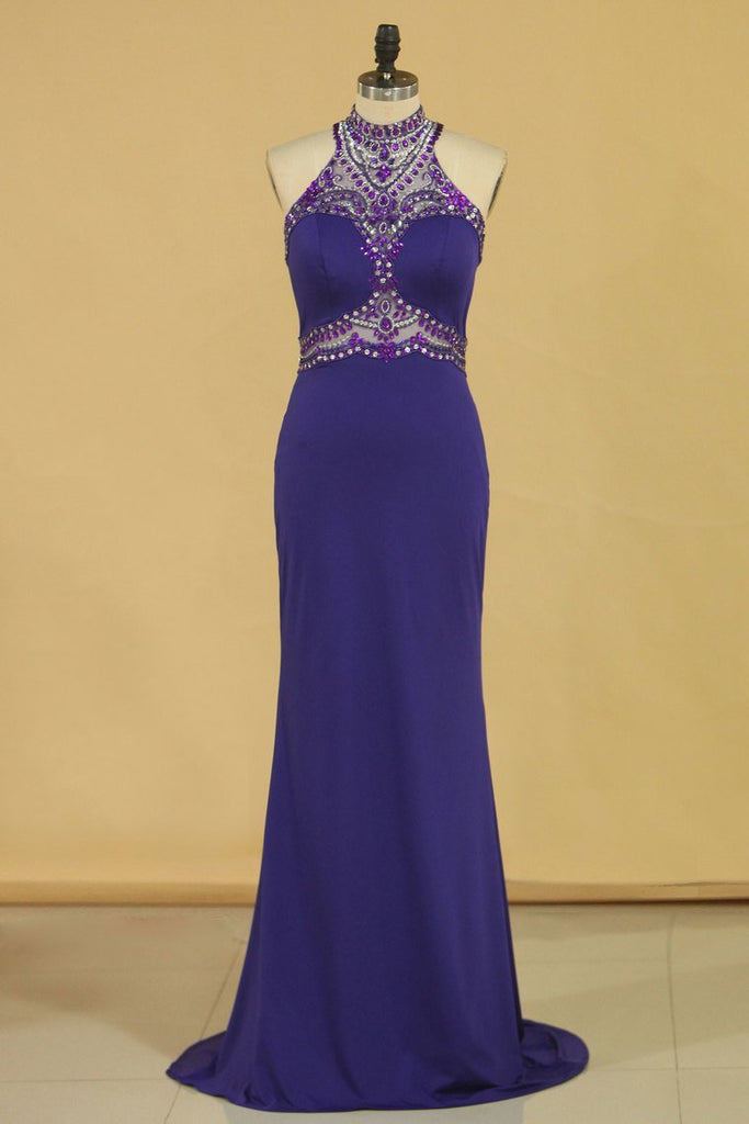 Spandex High Neck Sweep Train Prom Dresses With Beading And