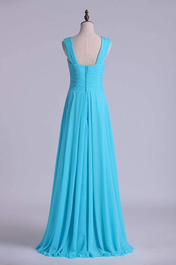 V-Neck Bridesmaid Dresses A-Line With Long Chiffon