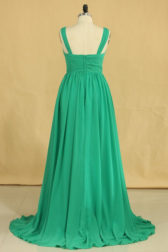 V Neck A Line Plus Size Prom Dresses Chiffon Sweep Train With Ruffles &