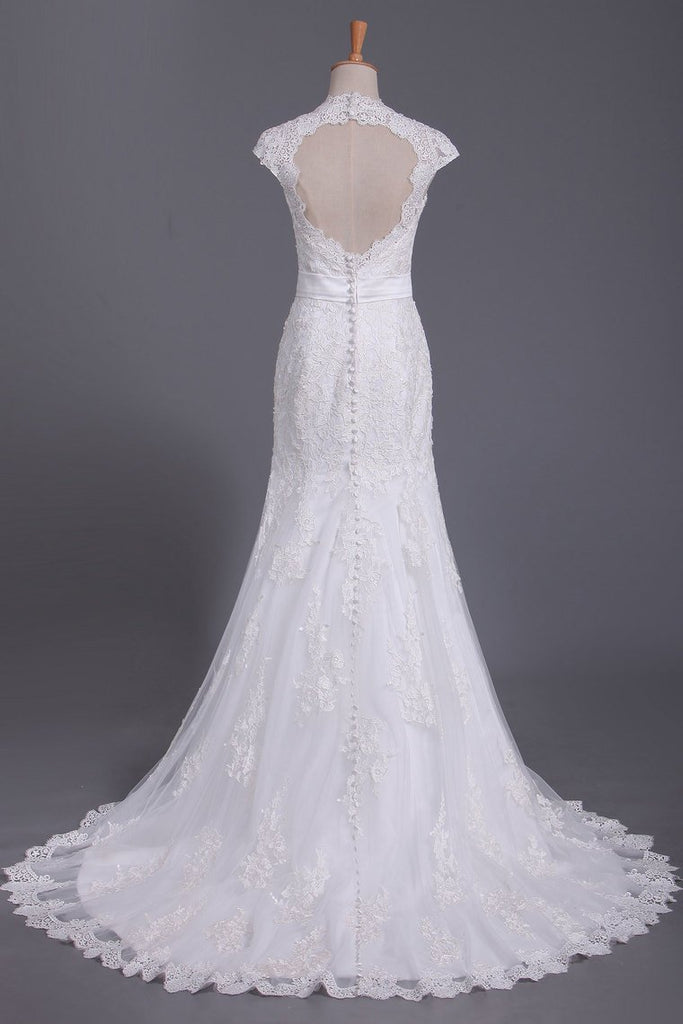 V Neck Wedding Dress Open Back Mermaid/Trumpet With Lace Skirt And
