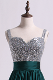 Straps A Line Short/Mini Prom Dress Beaded Bodice With Pleated Waistband