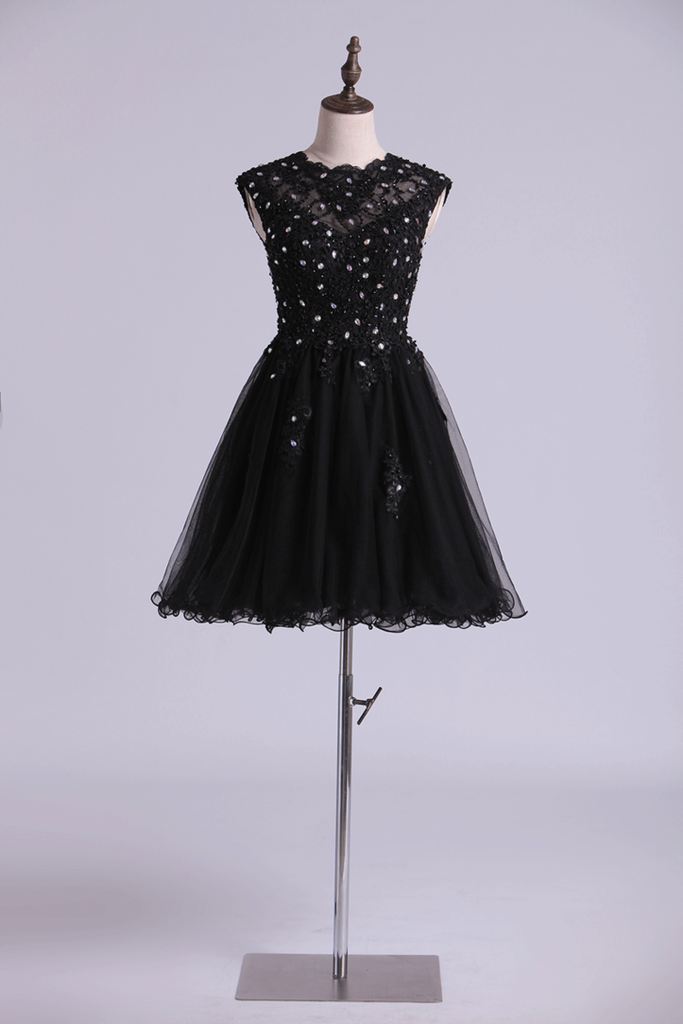 Scoop Prom Dress A Line Tulle Skirt Embellished Bodice With Beads & Applique Cap Sleeve