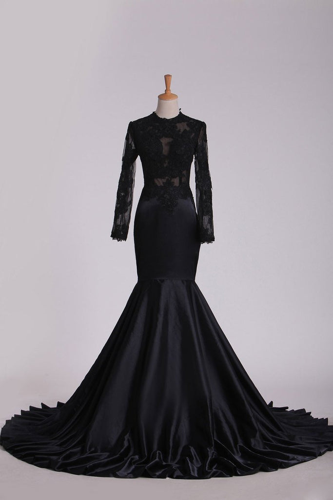 Evening Dresses Scoop Long Sleeve With Applique Mermaid Elastic Satin