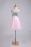 Homecoming Dresses A Line Sweetheart With Beads&Sequins Short/Mini