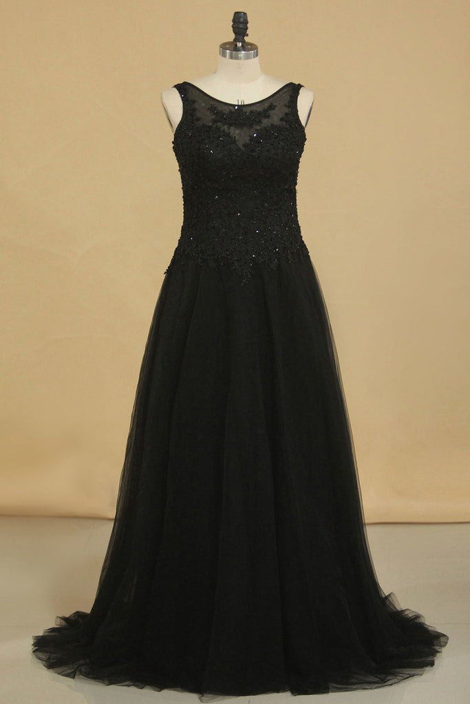 Evening Dresses Bateau Floor Length Tulle With Applique And Beads
