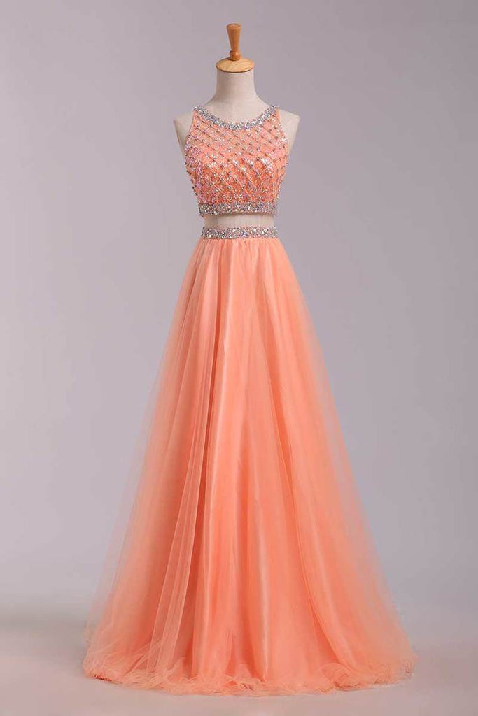 Two Pieces Bateau Beaded Bodice A Line/Princess Prom Dress Pick Up Tulle Skirt Floor