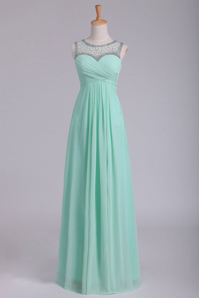 Mint Scoop A Line Prom Dresses Chiffon With Beads & Ruffles Floor Length