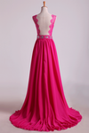 New Arrival V Neck Tulle&Lace Back A Line Exquisite Chiffon Beading Prom Dress
