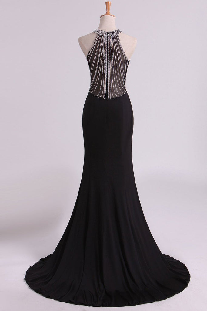 Black Prom Dresses Scoop Mermaid Spandex With Beading Sweep Train