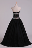 Prom Dresses Ball Gown Black Sweetheart Tulle With Rhinestone Floor Length